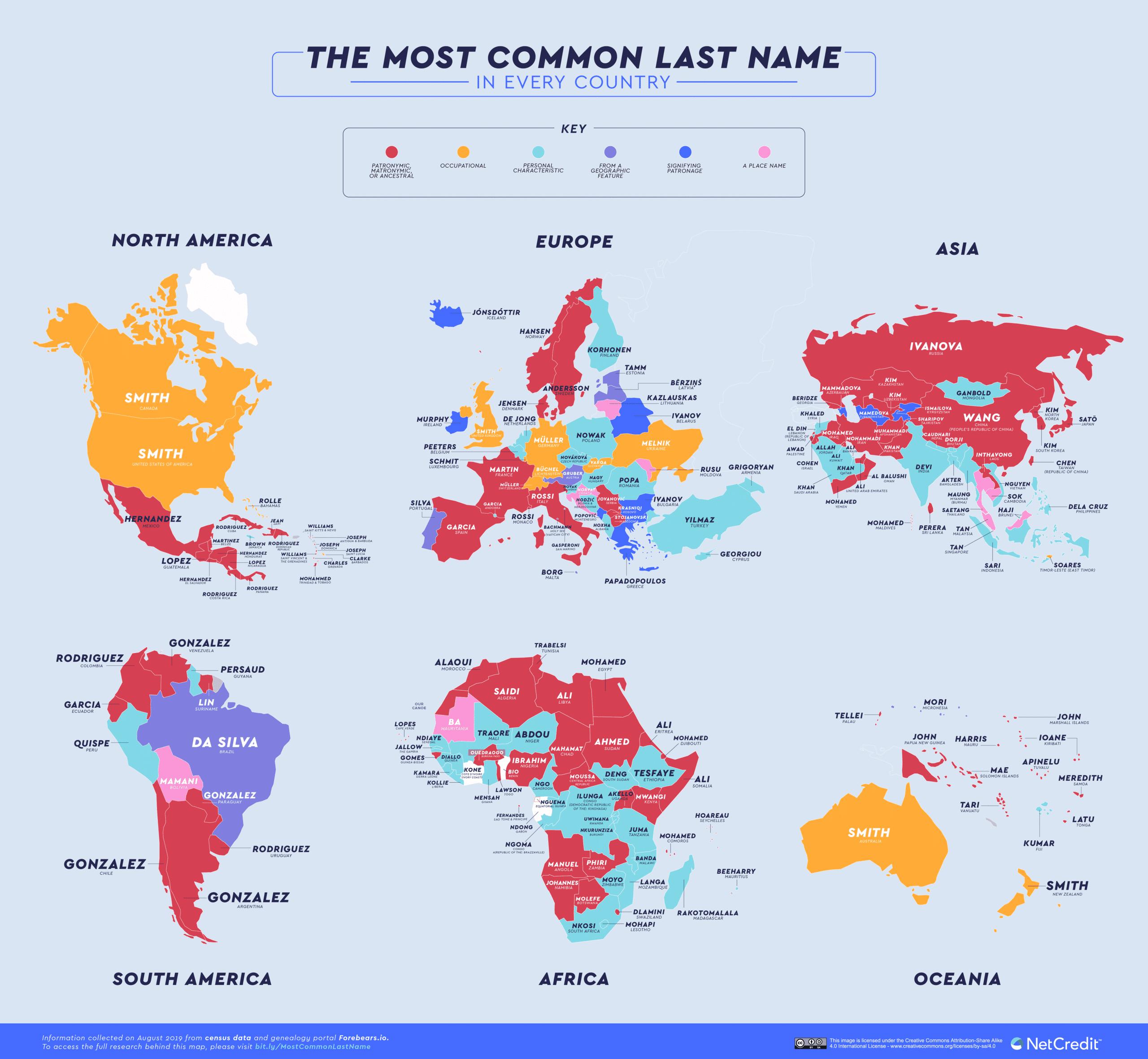 El apellido más común en cada país